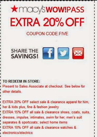 Macy's coupons sheets