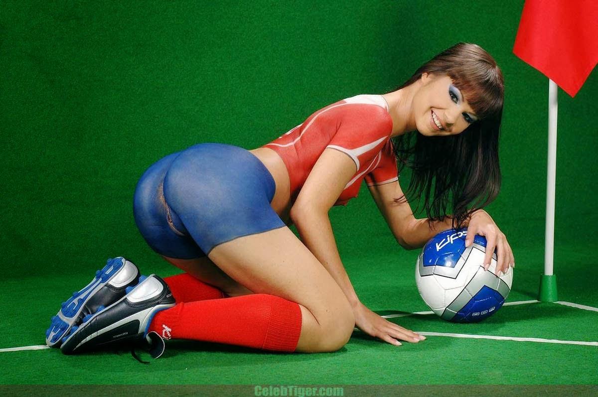 Girl fitting football in vagina