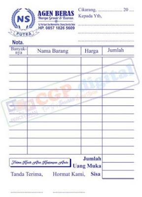 Nota untuk toko sembako atau nota toko agen