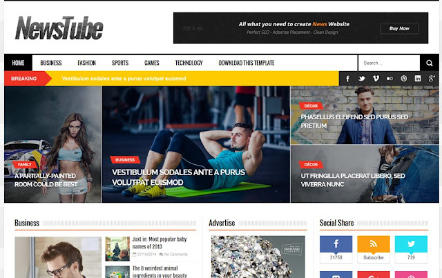Download News Tube Tempelat Foe Blogger Free