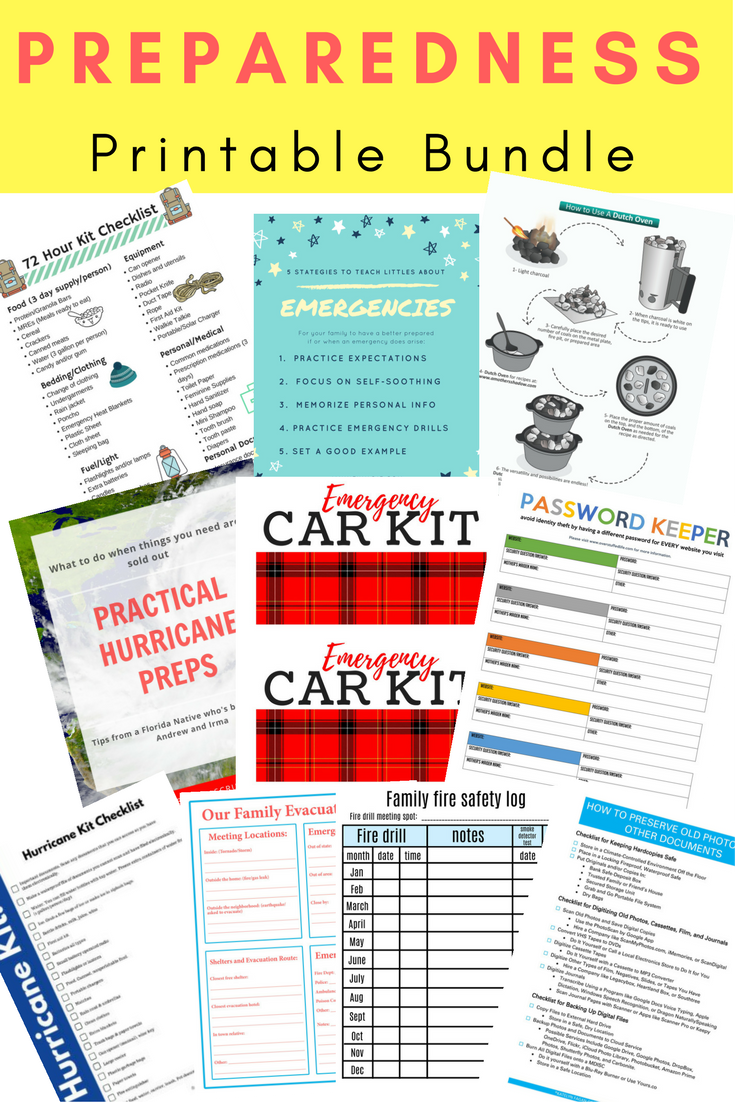 Download this free preparedness printable pack and be ready for any disasters that my come your way including hurricanes, fires, car emergencies, identity theft and more. Create a 72 hour kit.