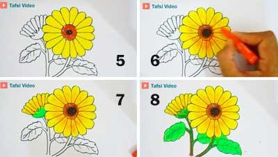 Cara mewarnai bunga matahari