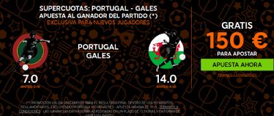 888sport bienvenida 150 euros + supercuota 7 o 14 Portugal o Gales gana 6 julio