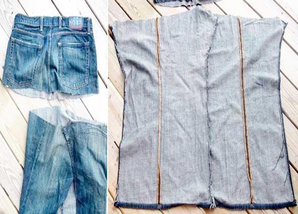 chaleco, pantalón vaquero, transformación, bricomoda, reciclar, customizar