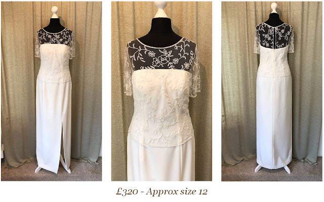 Beautiful beaded illusion wedding dress with short sleeves size 12 vintage wedding dress available from vintage lane bridal boutique wedding dress shop in bolton manchester