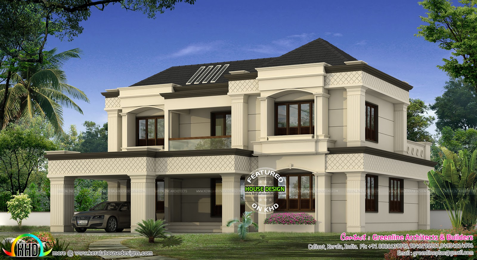 Modern colonial home kerala home design and floor plans for Colonial luxury house plans