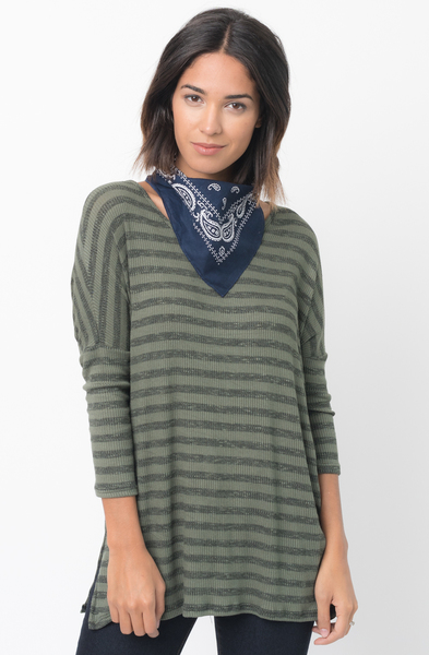Shop for Olive Striped long sleeve pullover crew neck Tunic Online - $38 - on caralase.com