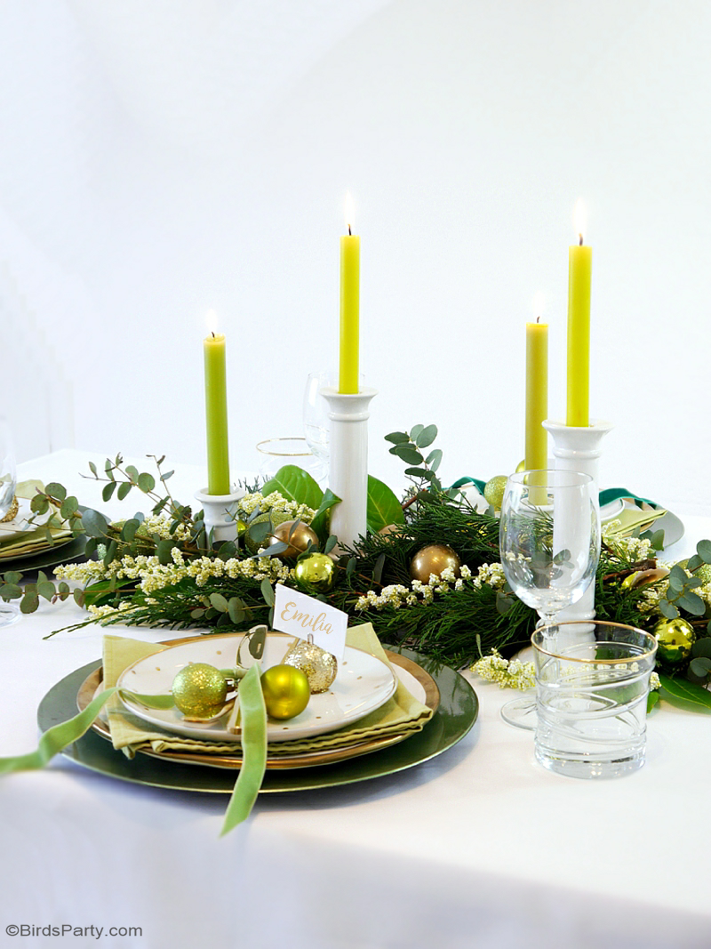 Green & Gold Christmas Holiday Tablescape - Party Ideas | Party ...