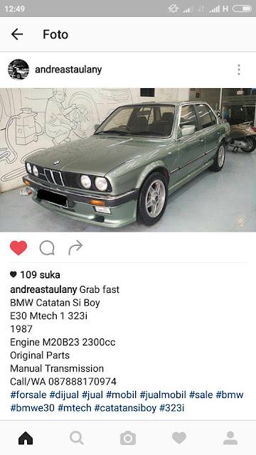 Mobil BMW E30 punya Andre Taulany dijual. Mobil Catatan si Boy.