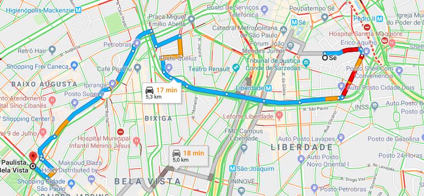 Google Maps - trânsito ao vivo