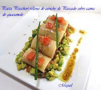 Pasta Paccheri rellenos de ceviche de pescado sobre cama de guacamole