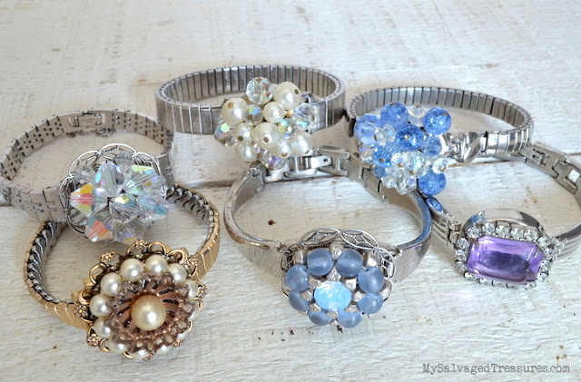repurposed watches and vintage earring bracelets