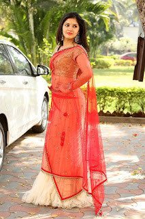 Gayathri Suresh Photos in White And Red Half Saree Pics