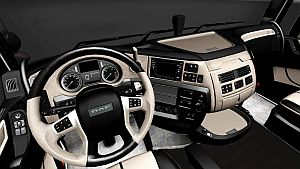 Black White Leather Lux interior for DAF Euro 6