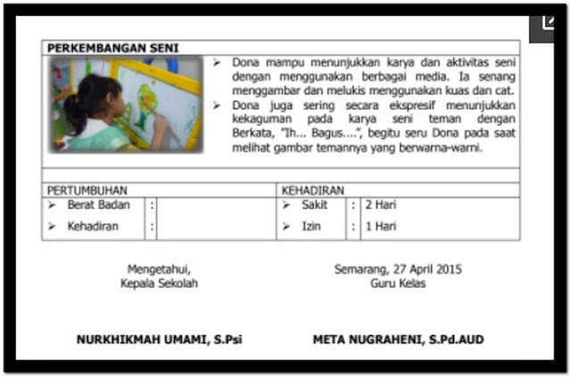 Contoh Raport PAUD K-13 Terbaru+ Pengisian Raport - FORMAT ...