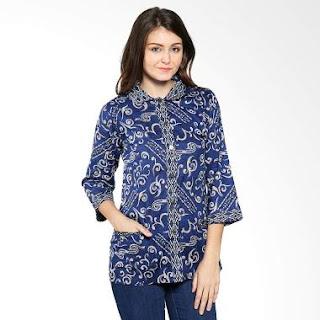 Desain Baju Batik Kerja Warna Biru