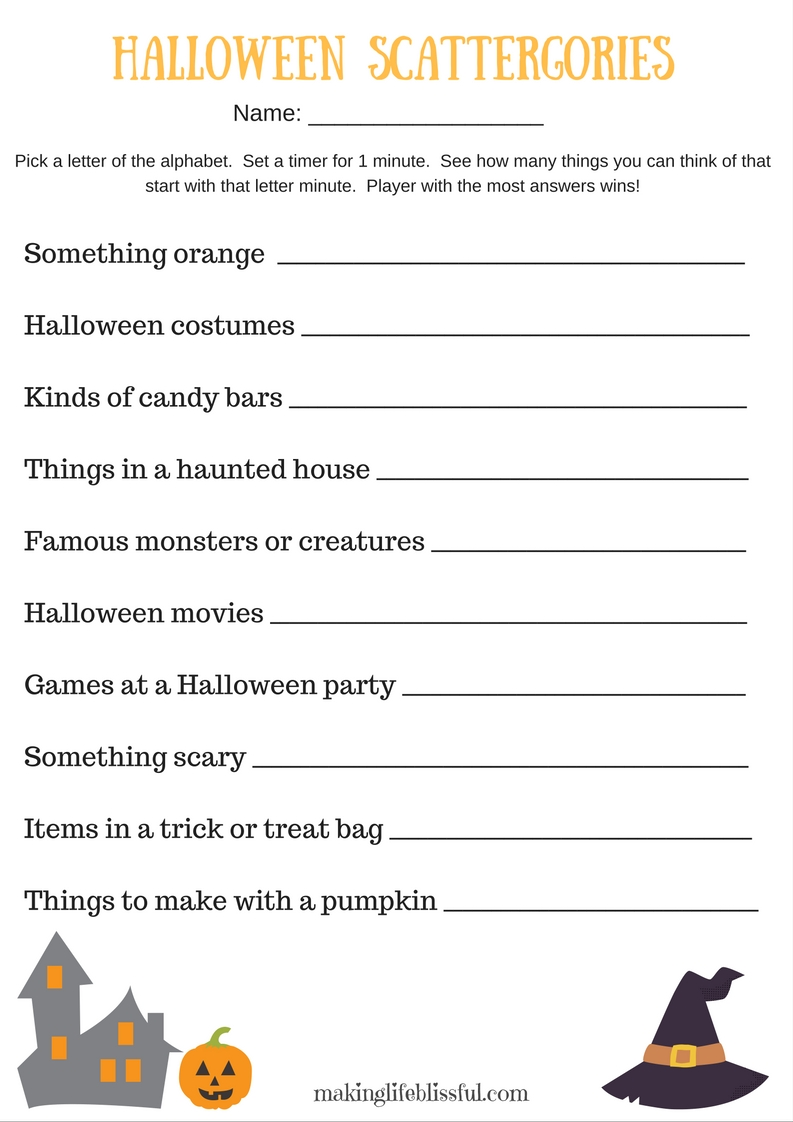 photograph regarding Halloween Printable Games called Halloween Scattergories Printable Video game Creating Lifestyle Blissful