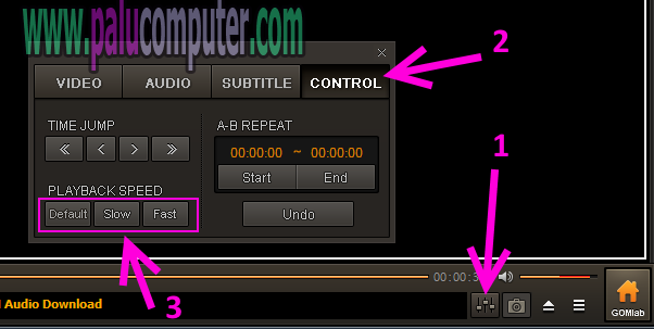 mengatur kecepatan video di gom player