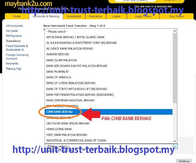 Cara Top Up Unit Trust CWA melalui maybank2u