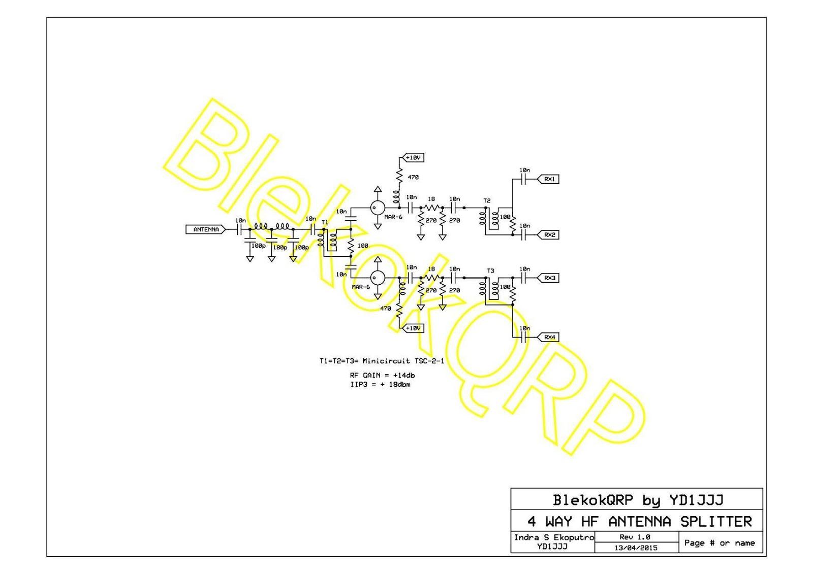 BLEKOK QRP by YD1JJJ: 4 Way RX Antenna Splitter