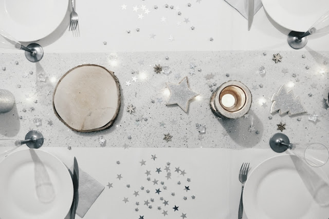 inspiration table de noël nature bois argent argenté paillette