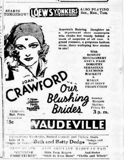 Asta's Doghouse: Our Blushing Brides (1930) Joan Crawford