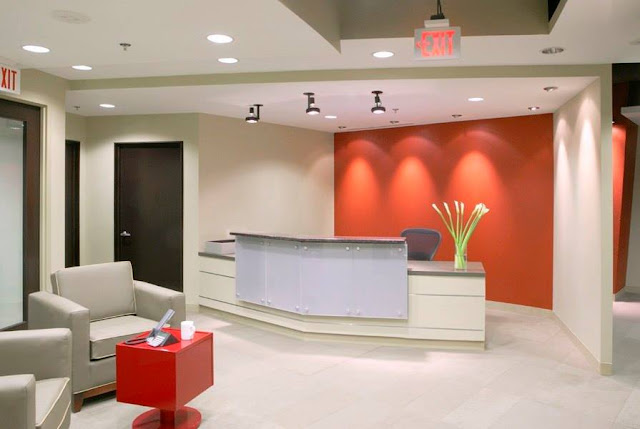 stunning office reception area design with decent furniture