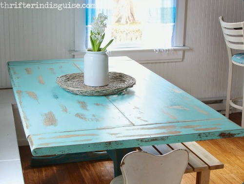 Blue Painted Kitchen Banquette Table