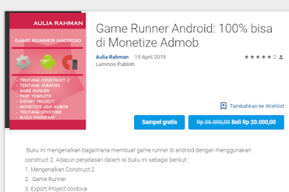 Ebook Premium Game Runner Android For Monetize Admob Ads