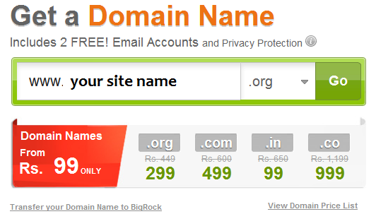 Purchasing a domain from BigRock