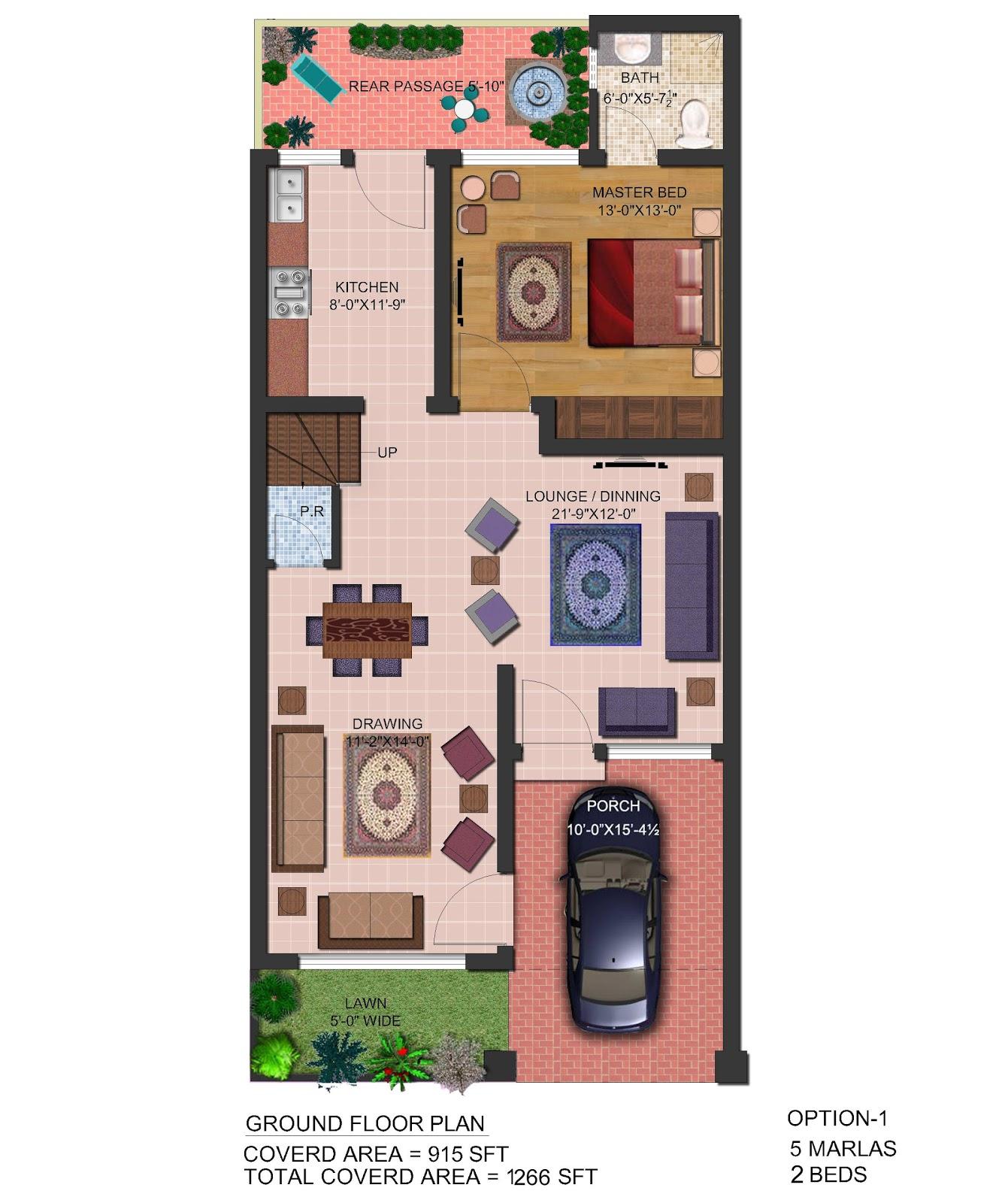 Home Design For 10 Marla: 3D Front Elevation.com: 5 Marla Front Elevation & Plan