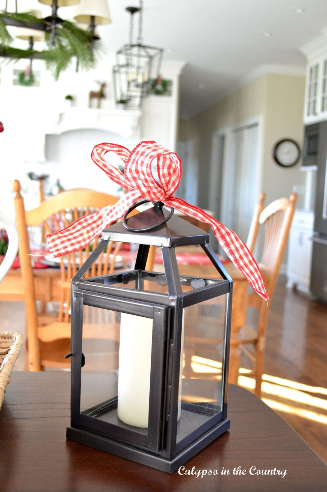 Festive Lantern with Red Checked Bow