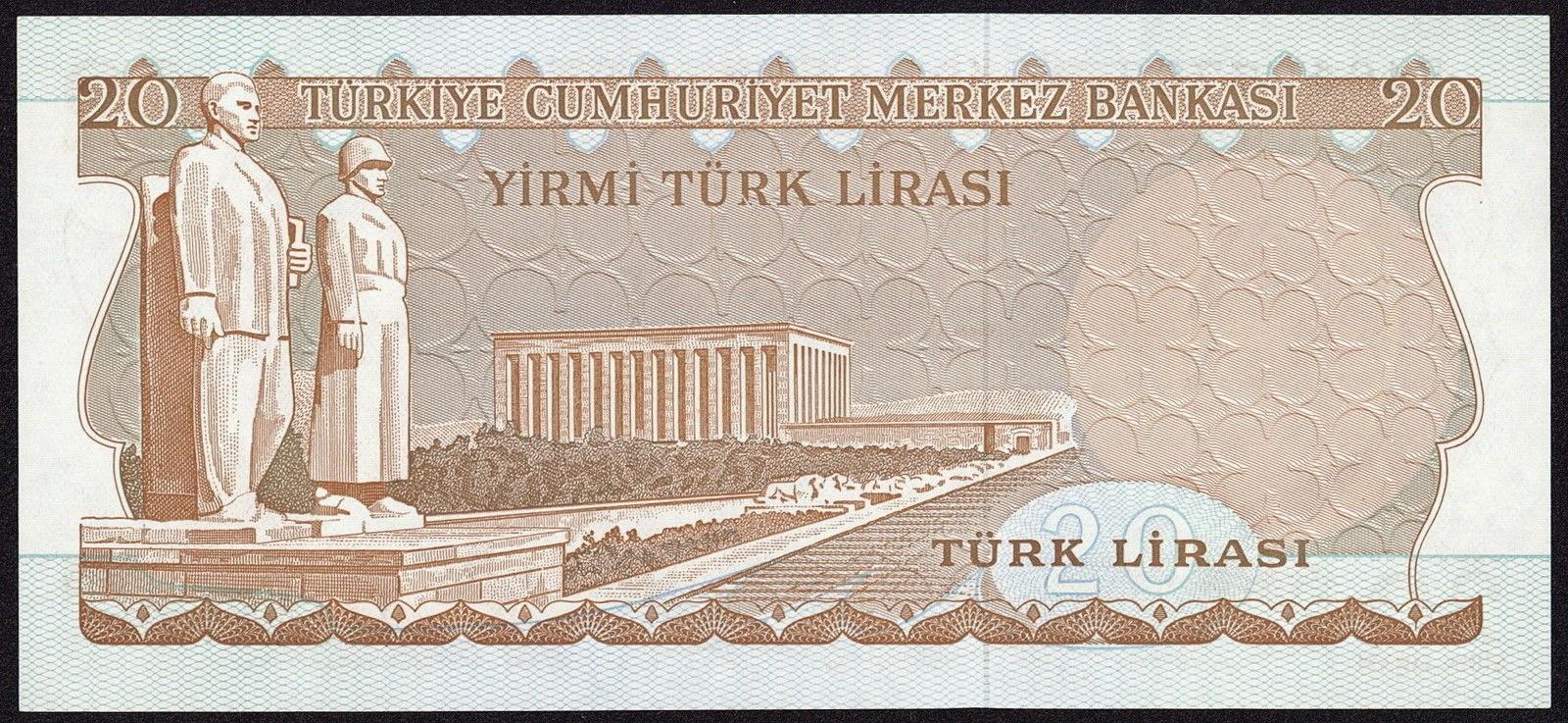 "Turkey currency money 20 Türk Lirasi ""Turkish Lira"" note 1966 Mausoleum of Atatürk in Ankara"