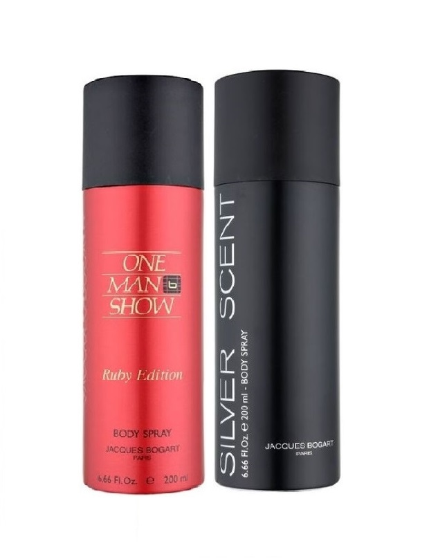 Pack Of 2 - One Man Show Ruby Edition And Silver Scent Body Spray 200 ml