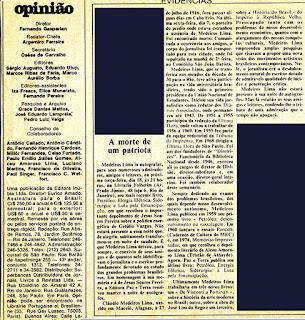 Obituário Medeiros Lima no Jornal Opinião