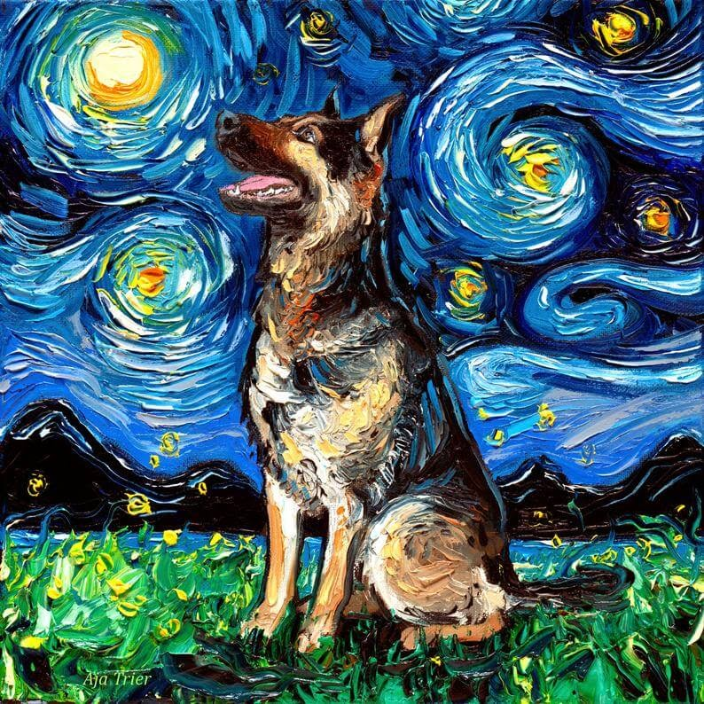 11-German-Shepherd-Aja-Trier-The-Starry-Night-Dog-Paintings-www-designstack-co
