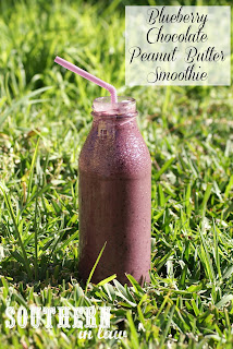 Healthy Blueberry Peanut Butter Chocolate Smoothie Recipe
