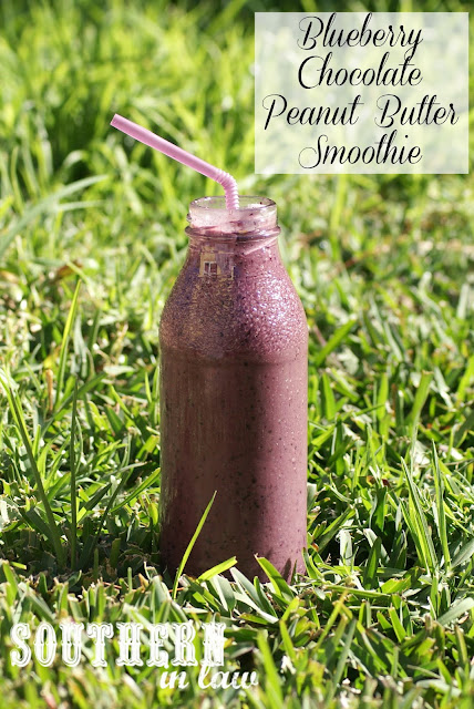 Blueberry Chocolate Peanut Butter Smoothie - Gluten Free, Vegan, Healthy