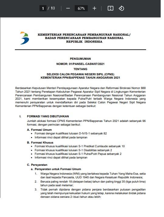 Lowongan CPNS Kementerian PPN/Bappenas Tahun 2021