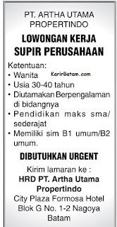 Lowongan Kerja PT. Artha Utama Propertindo