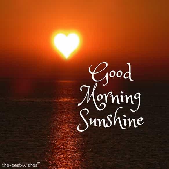 good morning with sunshine heart sun