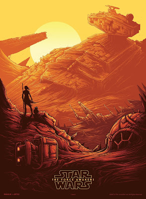 "Star Wars: The Force Awakens ""Rey & BB-8 on Jakku"" IMAX Print by Dan Mumford"