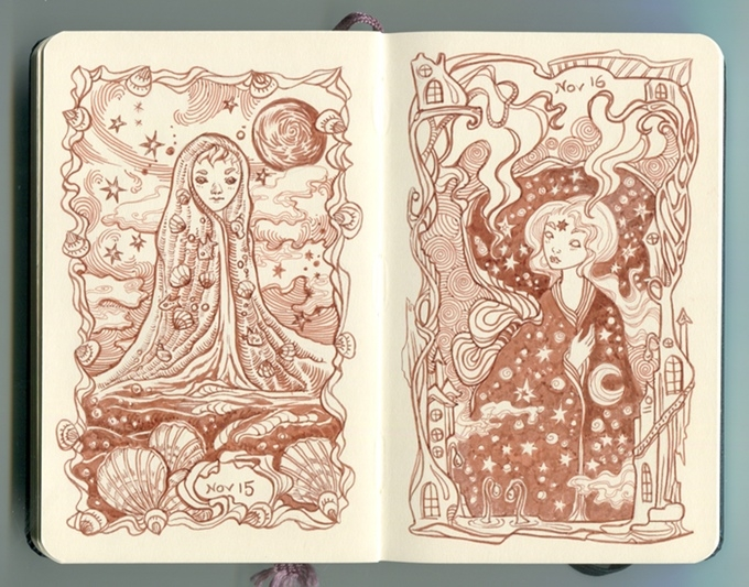02-Ania-Mohrbacher-82 Nights-A-Fairytale-Moleskine-Drawings-Artbook-www-designstack-co