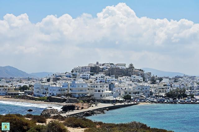 Chora desde la Portara, isla de Naxos (Grecia)