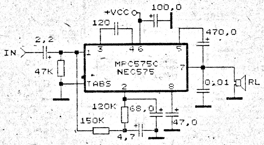 circuit diagram: Amplifier circuit for small room