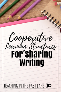 Cooperative learning strategies that are GREAT for sharing writing. So often we skip over the sharing part of writing workshop because we run out of time, but with these cooperative learning activities it makes sharing a quick and meaningful part of the writing routine.