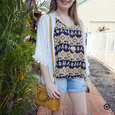 awayfromblue instagram aztec print tank shein crochet trim white kimono denim shorts family day out outfit