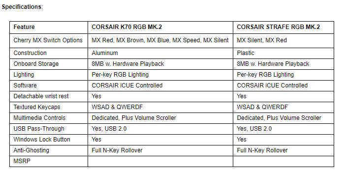 CORSAIR Launches New K70 RGB MK 2 and STRAFE RGB MK 2