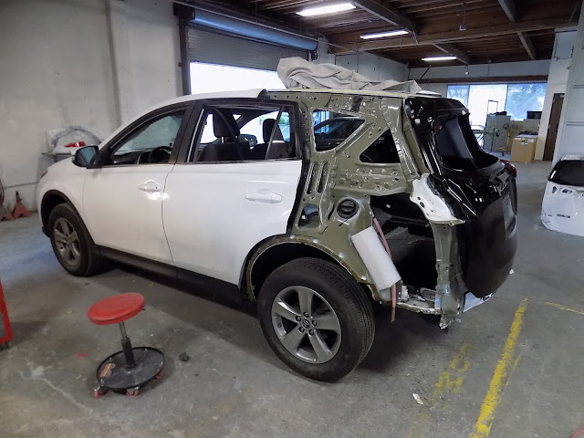 2015 RAV4 in process of having quarter panel replaced at Almost Everything Auto Body.