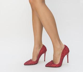 Pantofi City Rosii cu gliter de ocazii eleganti cu toc inalt